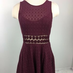 Free People Burgundy Daisy Lace Cutout Dress